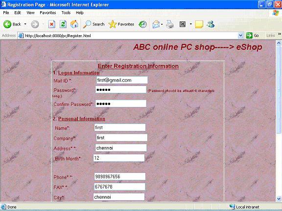 Registration form for online shopping